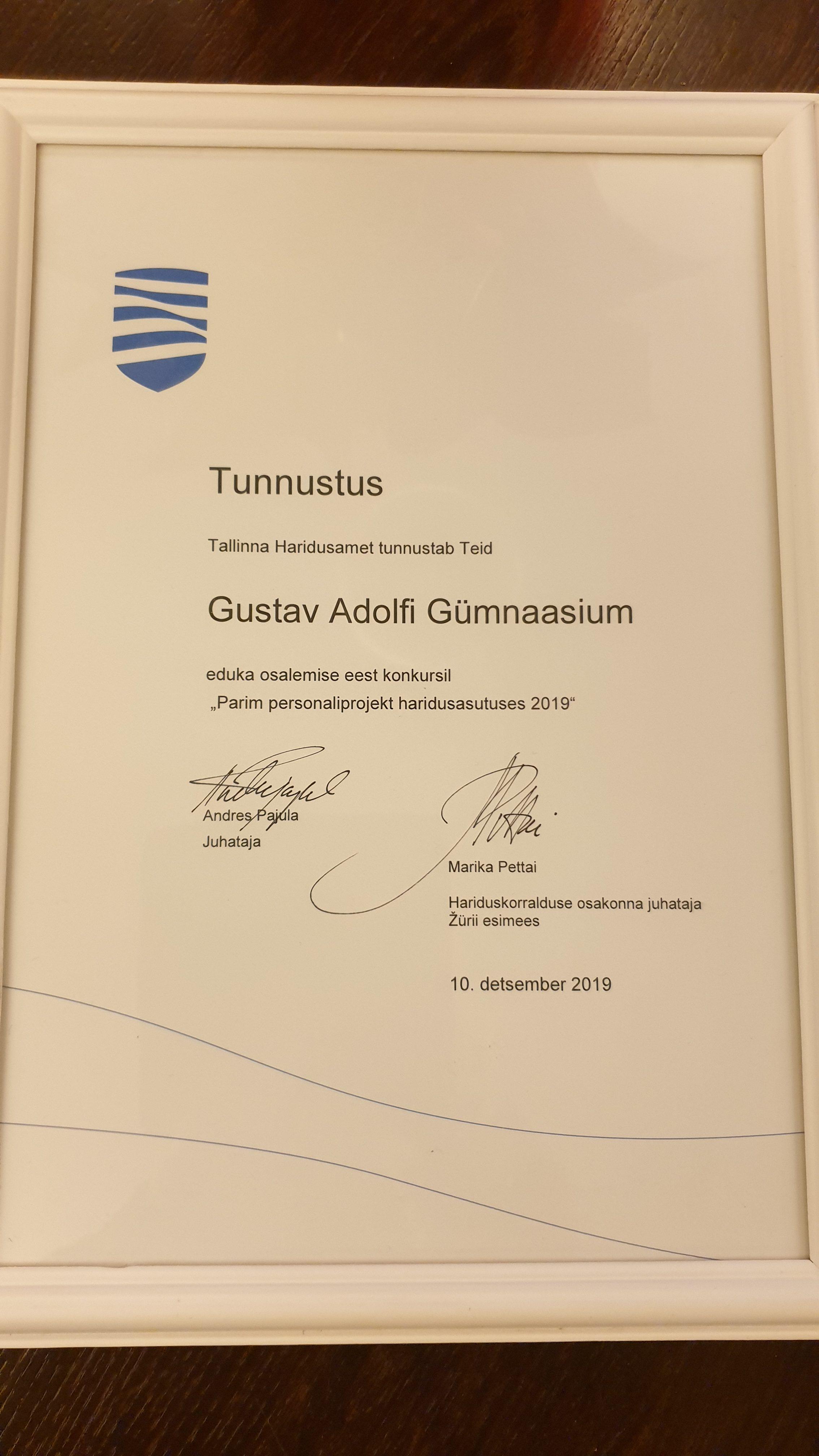 """Gustav Adolfi Gümnaasium pälvis tunnustuse Tallinna Haridusameti konkursil """"Parim personaliprojekt"""" 2019"""